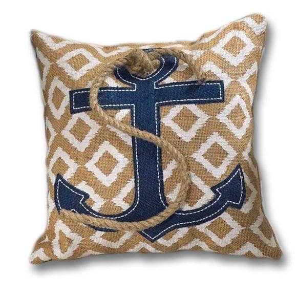 (2) Mud Pie Tan Striped Anchor Pillows, Home Decor